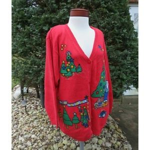 Santa Patches Ugly Christmas Cardigan Sweater Plus